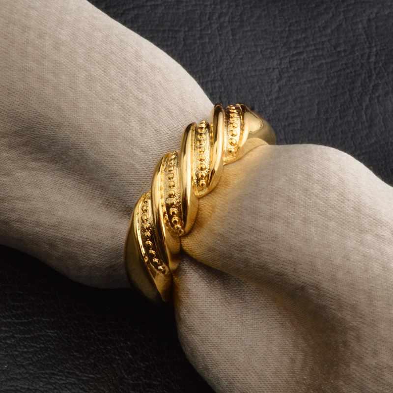 PATICO 2017 Fashion Twisted Rope Wedding Ring For Engagement Party Gold Color Ring For Men and Women High Quality
