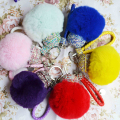 Leather Rope Keychain Rhinestones Key Ring Fur Pompons Keyring Key Chain Fluffy Fur Rabbit Pom Pom Keychain Car Chaveiro Porte C