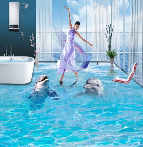 [Self-Adhesive] 3D Two Dolphins Ocean 4 Non-slip Waterproof Photo Self-Adhesive Floor Mural Sticker WallPaper Murals Print Decal