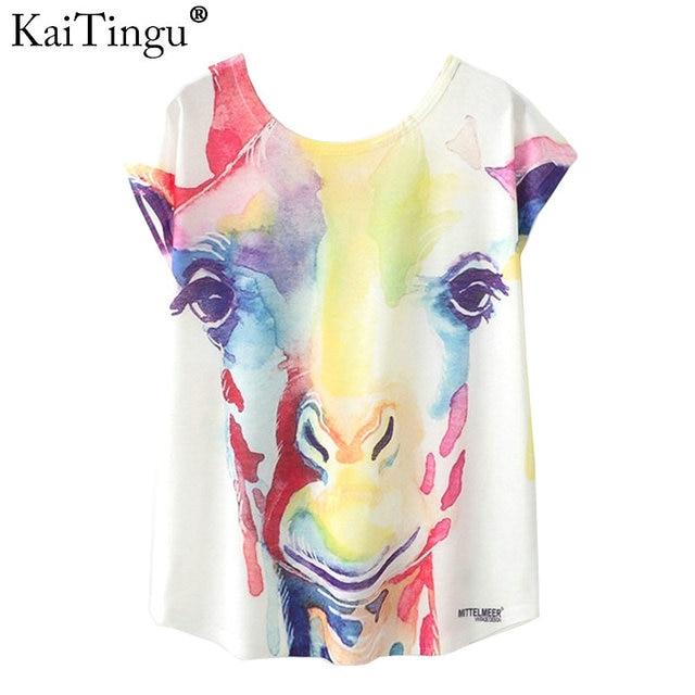 52530fce KaiTingu Summer Novelty Women T Shirt Harajuku Kawaii Cute Style Cartoon Giraffe  Print T-shirt New Short Sleeve Tops Size M L XL