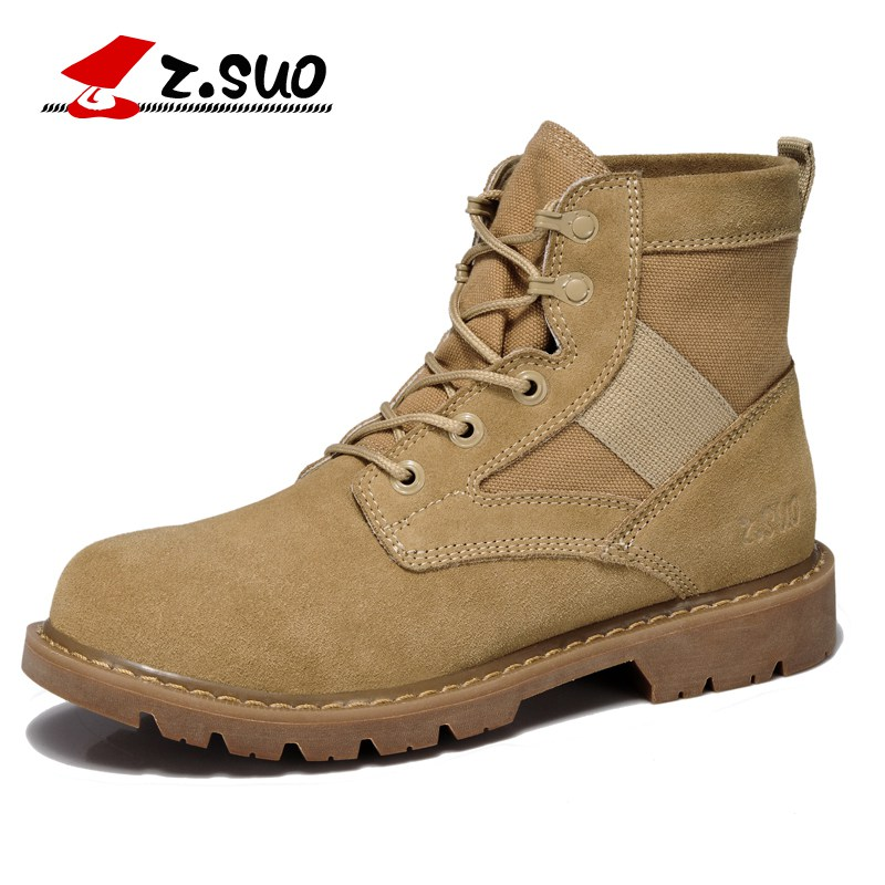 Z. Suo men 's boots, suede breathable  boots, western  tube tooling tactical boots in men, botas hombre zs158