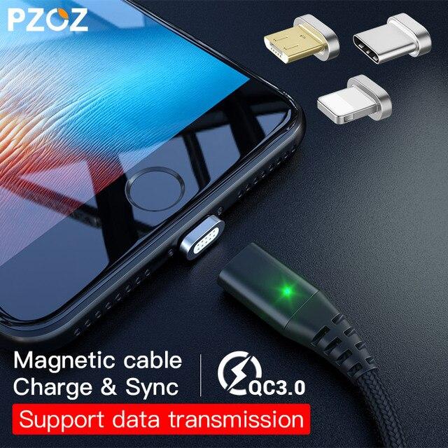 PZOZ Магнитный кабель Micro usb Тип C Быстрая Зарядка адаптер телефон Microusb Тип-C магнит Зарядное устройство usb c для iphone X Xs Max Xr samsung S9 S8+ NOTE 9 8 xiaomi mi 8 6 A2 lite 6X redmi 4X pocophone F1 type c