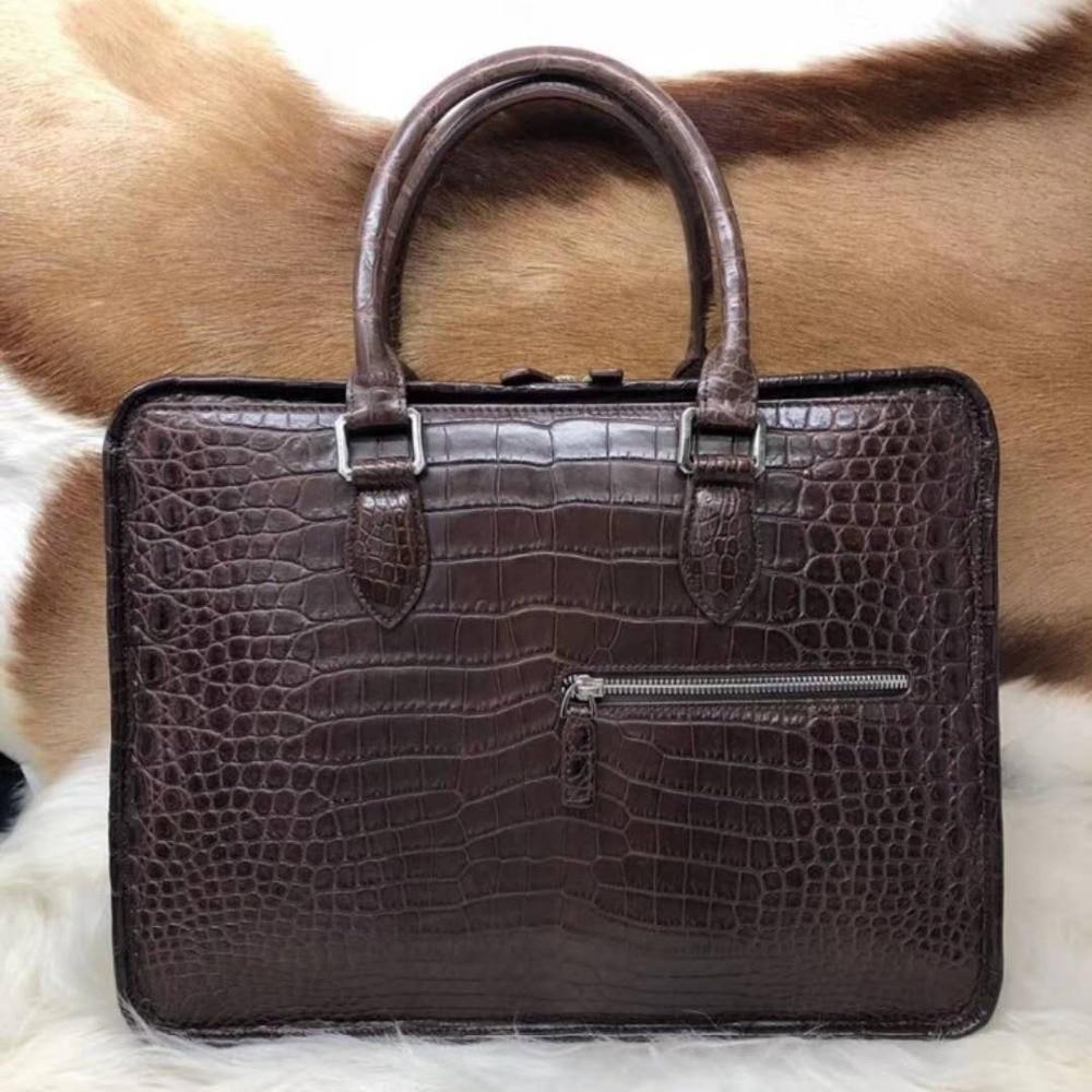 100% Genuine/Real Crocodile Skin Leather Men Business Bag, Men Briefcase Laptop Bag Top Handbag Black/Brown Coffee Color
