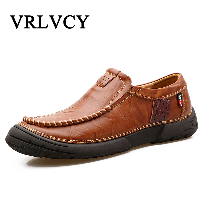 Leather Casual Shoes Fashion Men Shoes Loafers Comfortable Men Leather Shoes Slip On Moccasins Thick Sole Men's Casual Shoes branded men s penny loafes casual men s full grain leather emboss crocodile boat shoes slip on breathable moccasin driving shoes