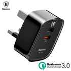 Baseus USB Charger Quick Charge 3.0 Turbo Wall Charger UK Plug QC3.0 Fast Travel Charger For Samsung Tablet Mobile Phone Charger