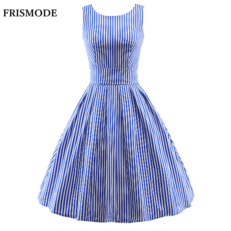 FRISMODE S 3XL Cute Candy Colors Striped Dress 2017 New Fashion Sleeveless Rockabilly Summer Dress Vestido