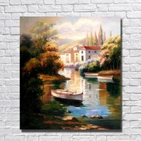 Village besides sea nature scenery canvas wall art paint hand drawing boat on sea oil painting decoration