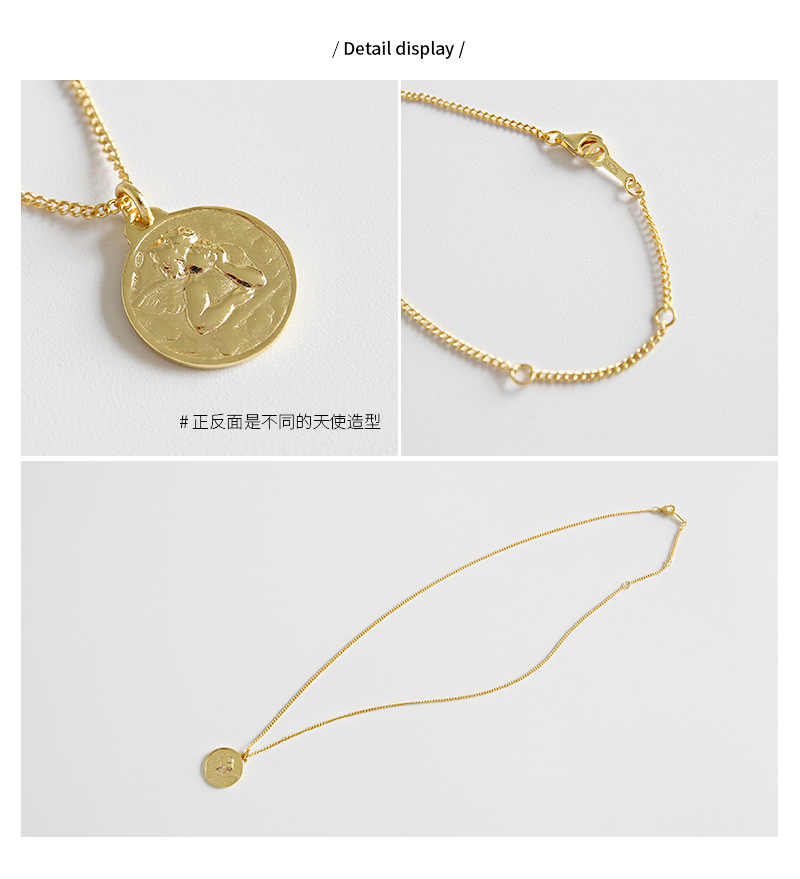 1fcbf0e0db ... HFYK 925 Sterling Silver Necklace 2019 Gold Angel Pendant Necklaces For  Women Fashion Round Short Necklace