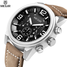 MEGIR Chronograph Quartz Watches Military Men Genuine Leather Casual Multifunction Digital Waterproof Watches Relogio Masculino