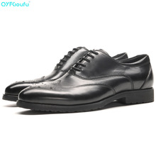купить Italian Mens Bullock Genuine Leather Shoes Luxury Brand Black Brown Men Party Wedding Dress Shoe Business Leather Shoe дешево