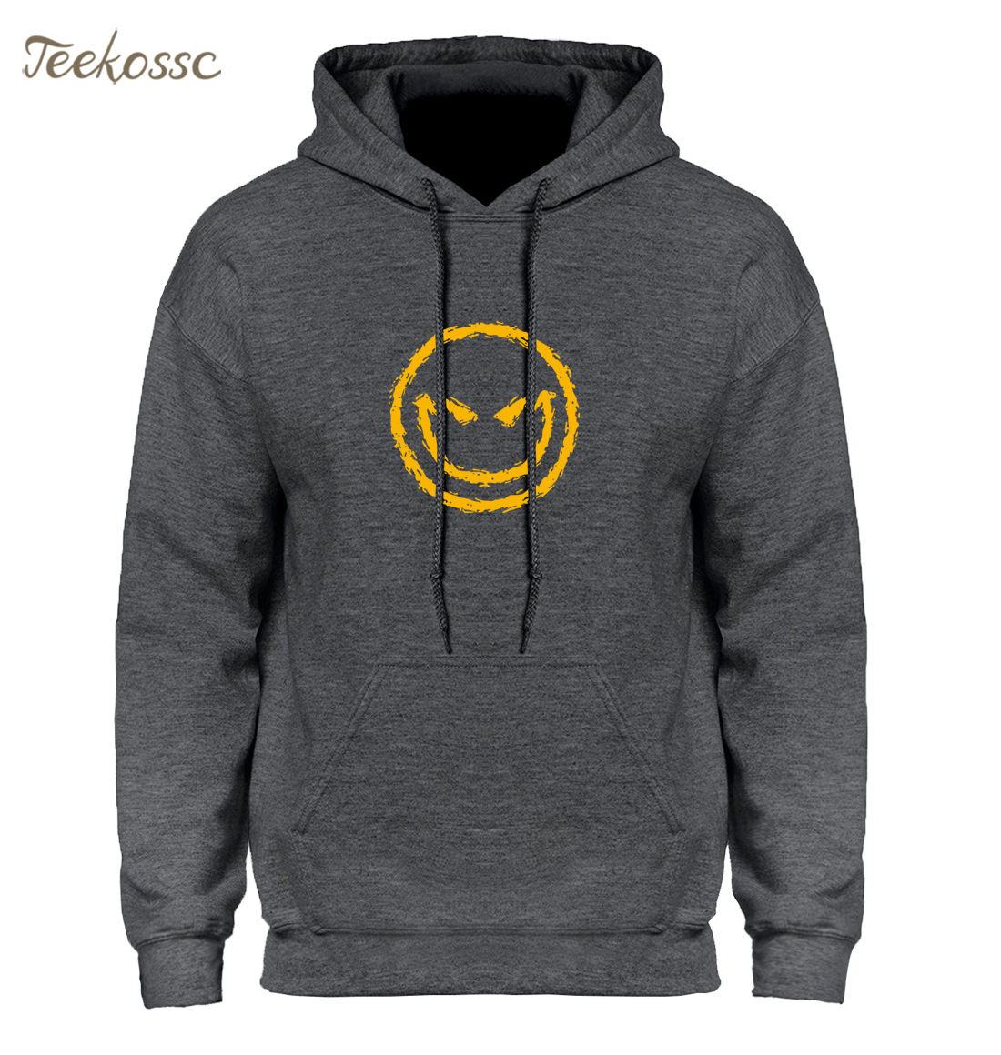 Evil Smiley Face Hoodie Men Black Blue Hoodies Mens Loose Hooded Sweatshirt 2018 Winter Autumn Fleece Warm Hip Hop Streetwear