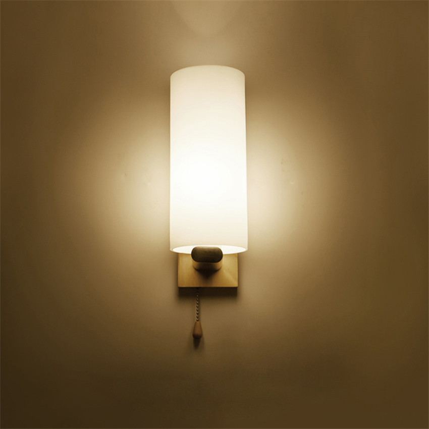 Lámparas de pared LED modernas, lámparas de noche para dormitorio, baño, noche, vidrio de madera ligera E27, enchufe Max60W, Luminaria decorativa para AC90-260V