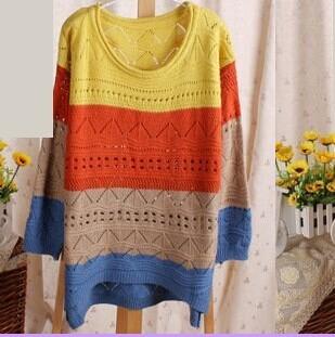 бесплатная доставка 2015 новый симпатичные экипаж шеи длинным рукавом негабаритных полосатый свитер джемпер