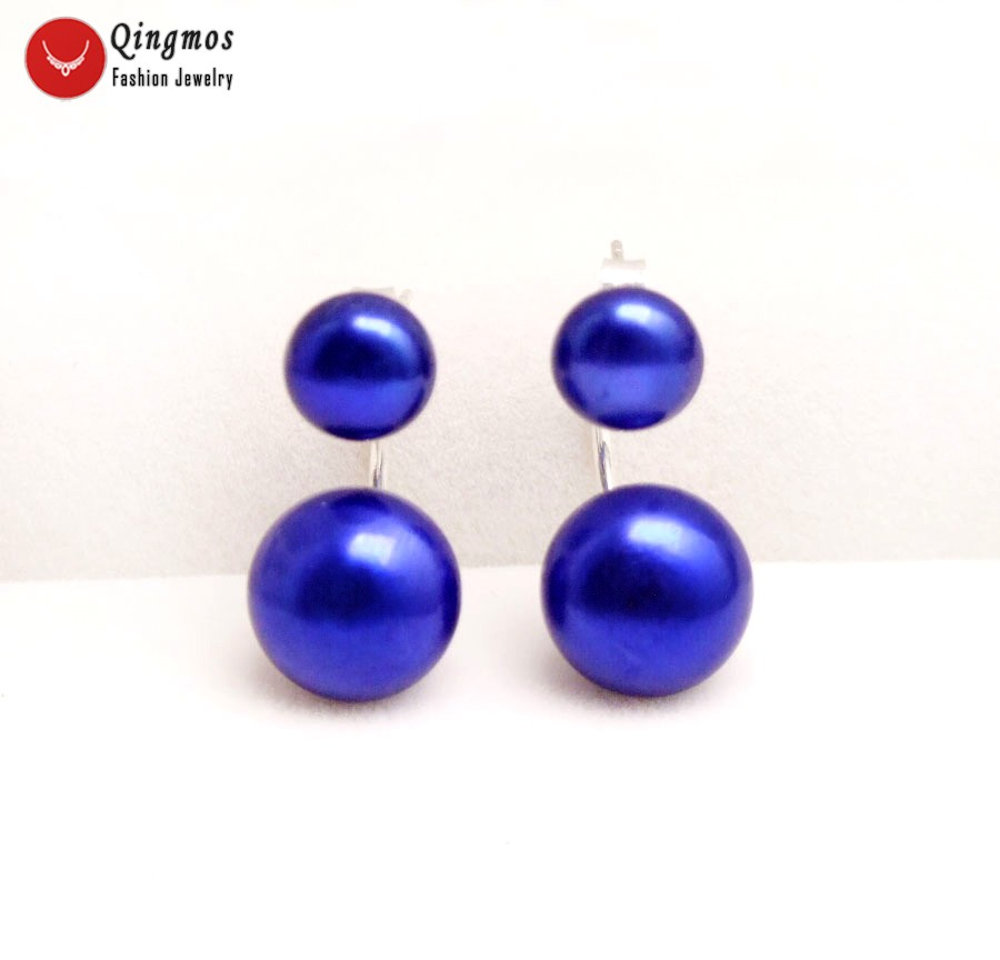 Qingmos Front Back Natural Pearl Earrings for Women with 8-11mm Blue Flat Round Pearl Dangle Double Sided Earrings Fine Jewelry
