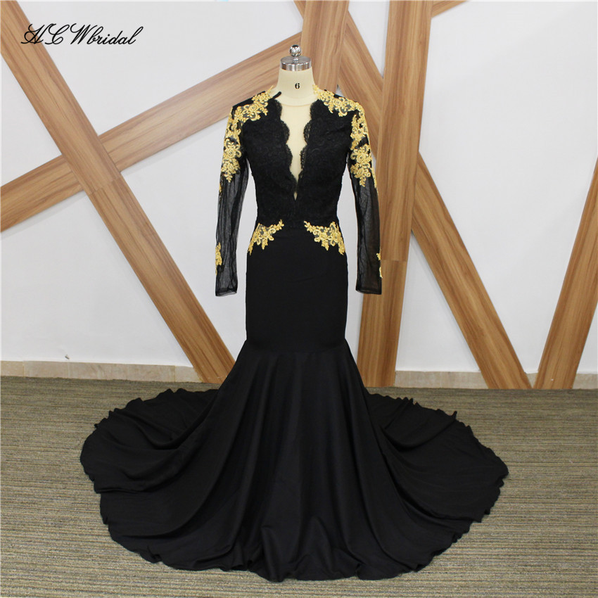 Black Mermaid Long Sleeve   Evening     Dress   2019 Gold Lace Appliques Sweep Train Formal Prom Gowns Custom Made Party   Dresses   Cheap