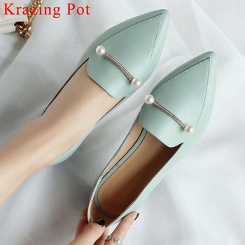 Krazing Pot hand-sewn leather genuine leather low heels slip on oxford pointed toe pearls fastener ballet shoes driving shoe L00