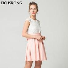 216a6944d1 2019 nowy przyczynowy bez rękawów koronki Puffy plaża sukienka z paskiem sukienka  kobiety wieczór sukienka na imprezę Sundress V..