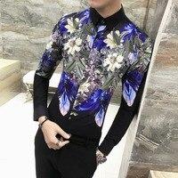 Brand New Men Shirt Fashion 2019 Autumn Long Sleeve Dress Shirts Men Slim Fit Casual Print Party Dress Shirt Male Clothing 3XL M