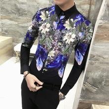 купить Brand New Men Shirt Fashion 2019 Autumn Long Sleeve Dress Shirts Men Slim Fit Casual Print Party Dress Shirt Male Clothing 3XL-M по цене 1269.41 рублей