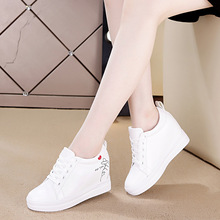 Breathable Women Shoes New Flat Top Sports Increase Single Woman Female Students White Skateboarding