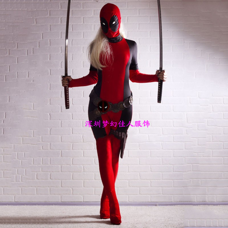 Lady Deadpool costume cosplay Costume Black and Red Spandex Bodysuit with Ponytail Hole halloween costumes WITH GLOVES