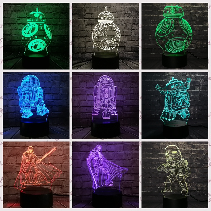 Dropshipping Star War 3D LED Lamp Star War Color Change BB8 Dark Vader R2D2 Anakin NIght Light Lava Attack Of The Clones