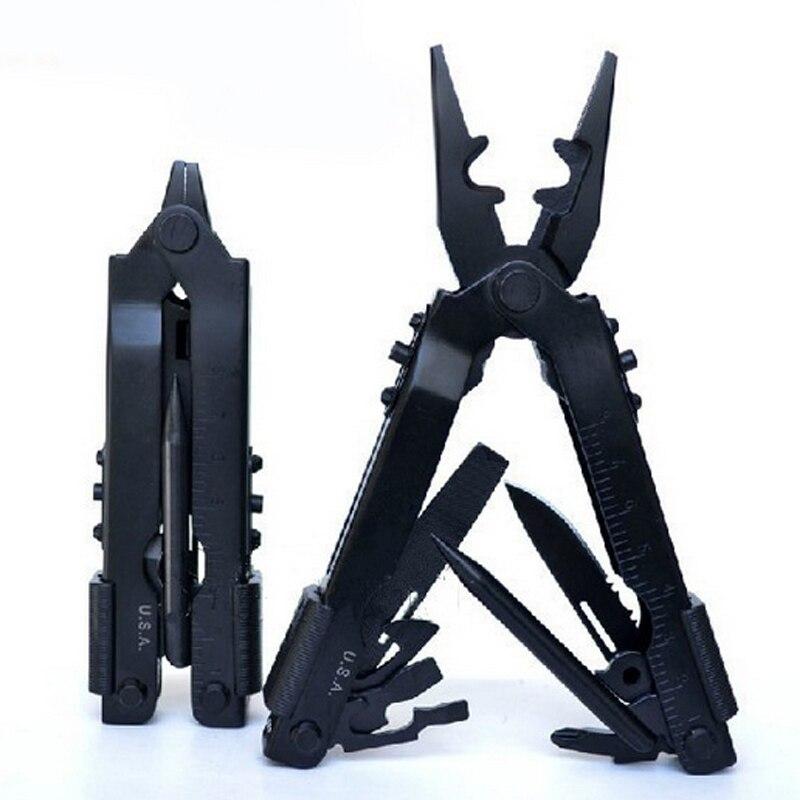 8 IN1 Multi Camping Tool Folding Pliers Knife Outdoor Survival Hand Tools Black Stainless Steel Herramientas Cycling Pliers  цены
