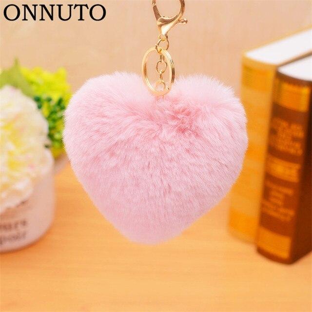 10-12 centímetros Pompom pompom Keychain Macio Encantador da Forma Do Coração De Pele Macia do falso Pele De Coelho Pom Poms Bola Carro bolsa de Presente Do Anel Chave