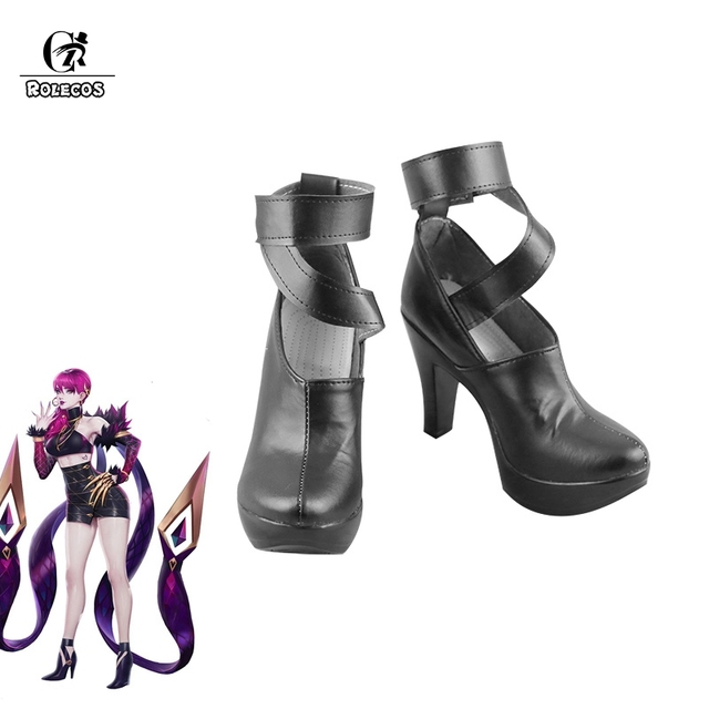 ROLECOS KDA Evelynn Cosplay Shoes LOL Evelynn Cosplay Boots Women Shoes K/DA Evelynn High-Heeled Shoes Boots 9CM