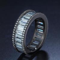 2017 New Arrival Top Selling High quality Classic Jewelry 10kt Black Gold Filled 5A White CZ Zirconia Princess Cut Wedding Ring