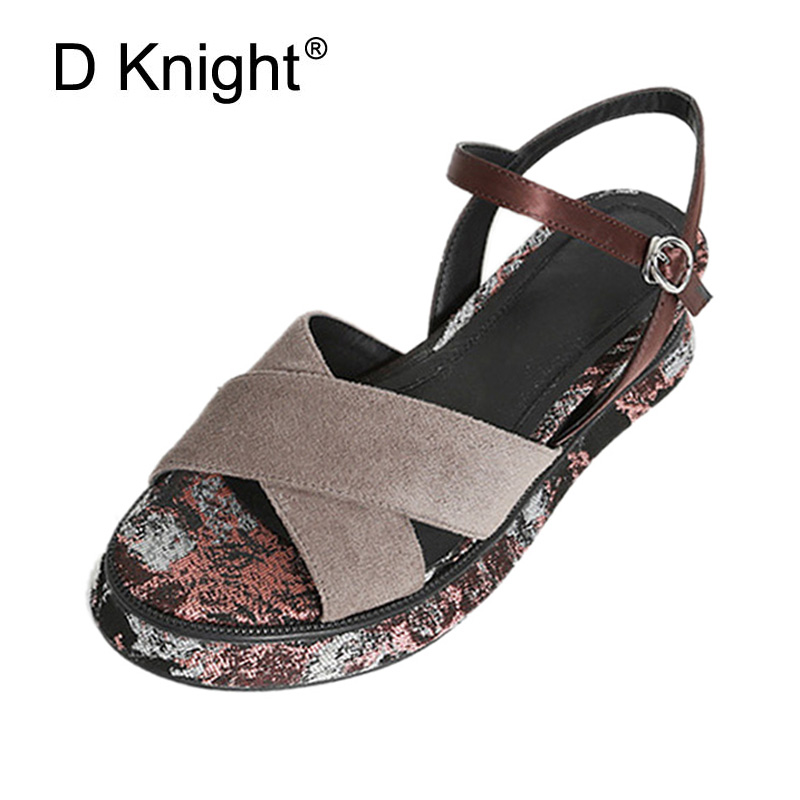 Retro Floral Print Platform Wedge Sandals For Women Slip On Leather Lady Casual Shoes Open Toe High Heels Gladiator Sandal Woman lining splicing floral print casual wide hem organza midi skirt for women