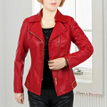 XL-6XL Leather Jacket Women Washed Pu Spring And Autumn Middle-aged Mother Young Ladies Suit Collar Coat Slim Thin J283