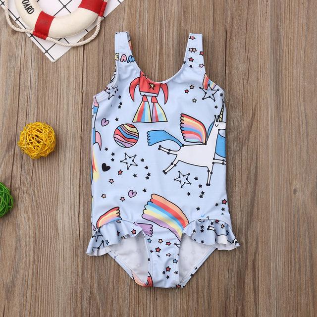 0-5T Kids One-piece Swimsuit Toddler Kids Baby Girls Cartoon Bikini Swimwear Swimsuits Bathing Suit Beachwear 14