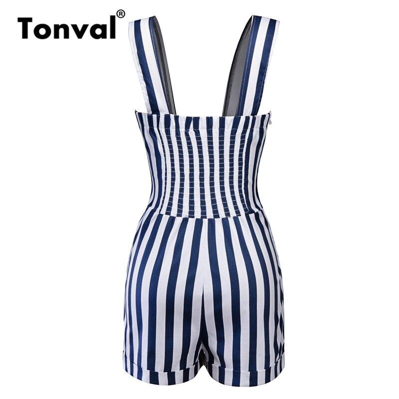 Tonval Striped Vintage Pin Up Jumpsuit Elegant Short Romper Women Button Front Retro Playsuit 1950s Summer Black Overalls