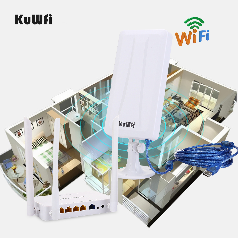 High power wireless Openwrt  Wireless router with 4pcs 7dbi antenna,high power wireless Adapter with 14dbi antenna&5M USB cable-in Wireless Routers from Computer & Office