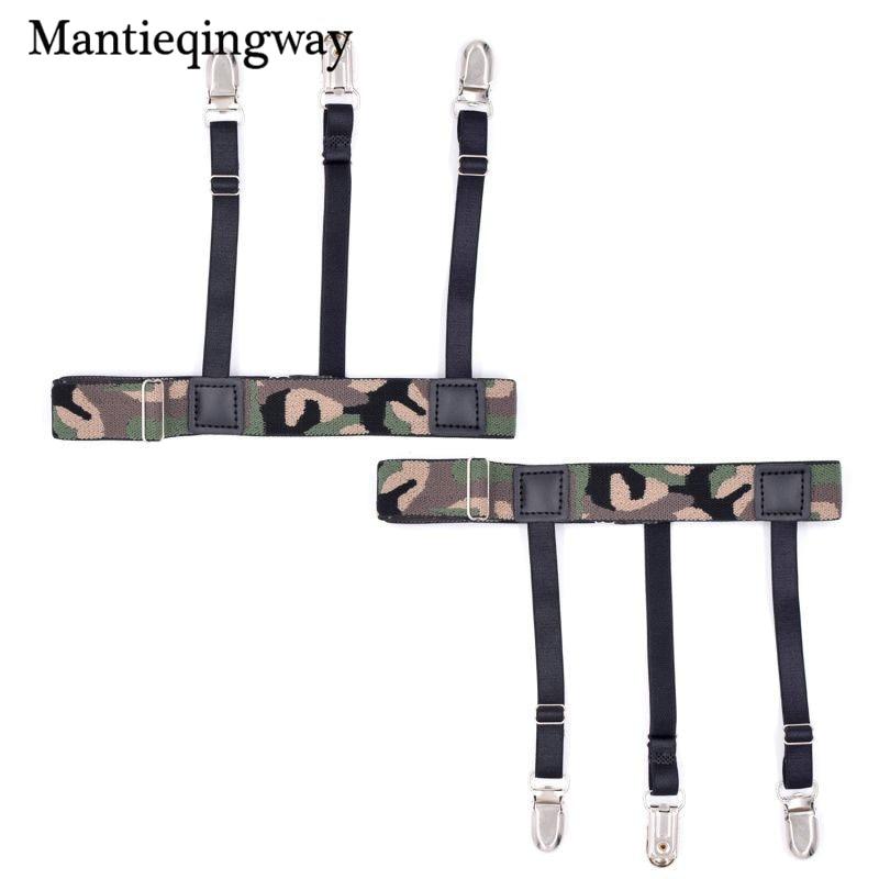 Mantieqingway Camouflage Shirt Stays Garters for Mens Thigh Ring Nylon Shirt Holders Gentlemen Non-slip Braces Suspenders Belt