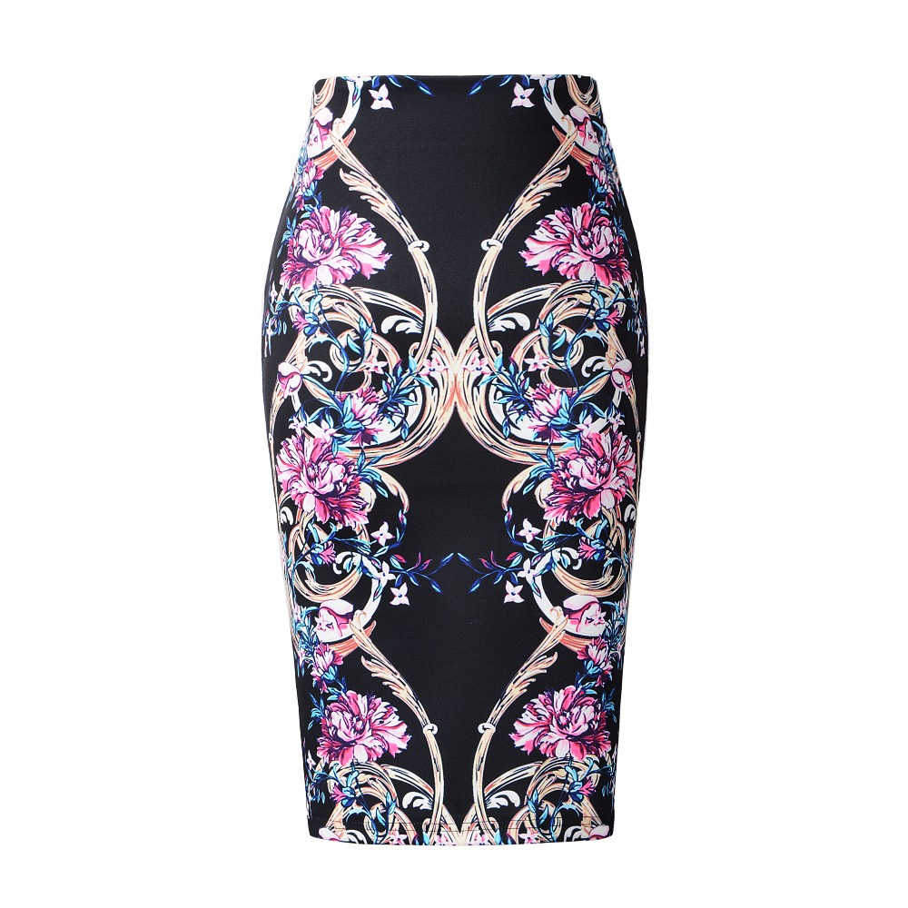 Neophil 2019 Winter Style High Waist Wrap Pencil Skirts Women Midi Floral Boho Retro Print Saia Lapis Office School Skirts S1723