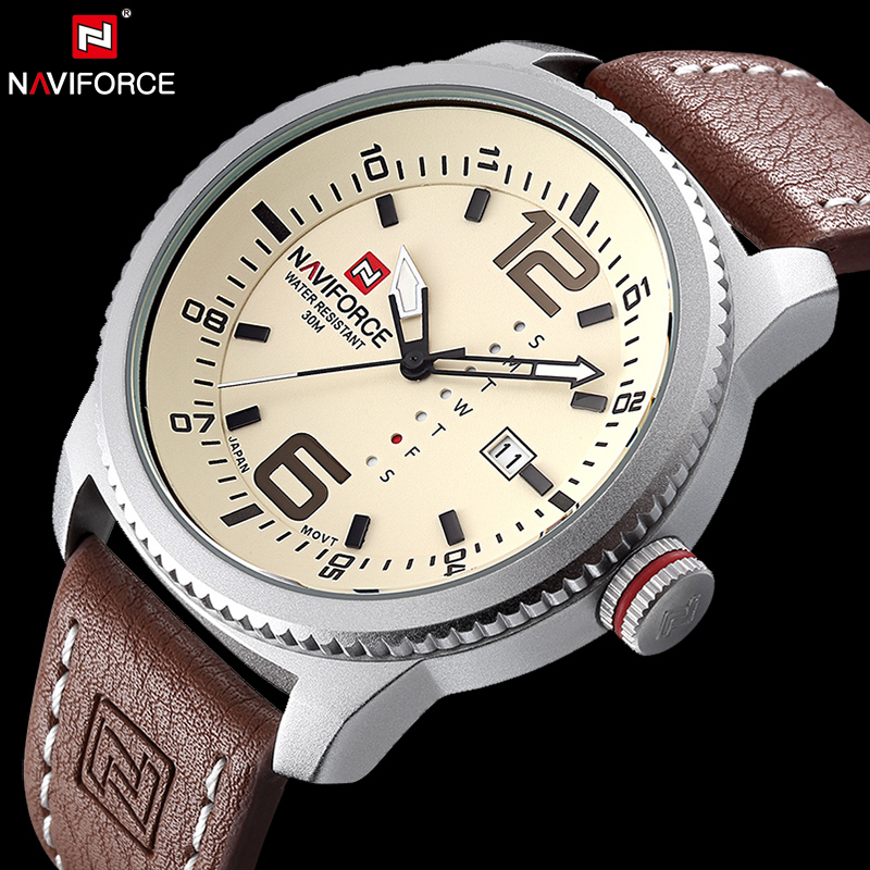 NAVIFORCE Original Luxury Brand Date Quartz Watch Men Casual Military Sports Leather Wristwatch Waterproof Relogio Masculino