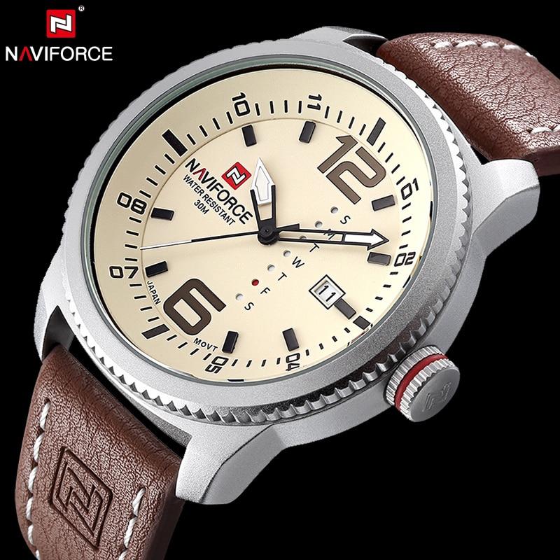 NAVIFORCE Original Luxury Brand Date Quartz Watch Men Casual Military Sports Leather Wristwatch Waterproof Relogio Masculino