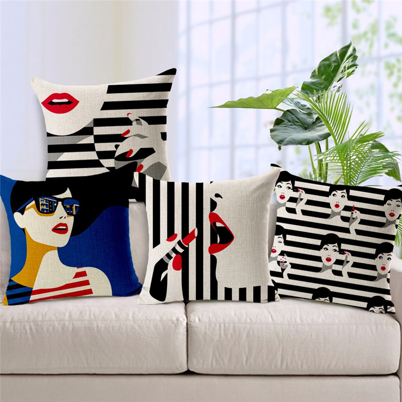 Sexy Women With Black And White Stripe Printing Cushion - Sofa Cushions Black And White