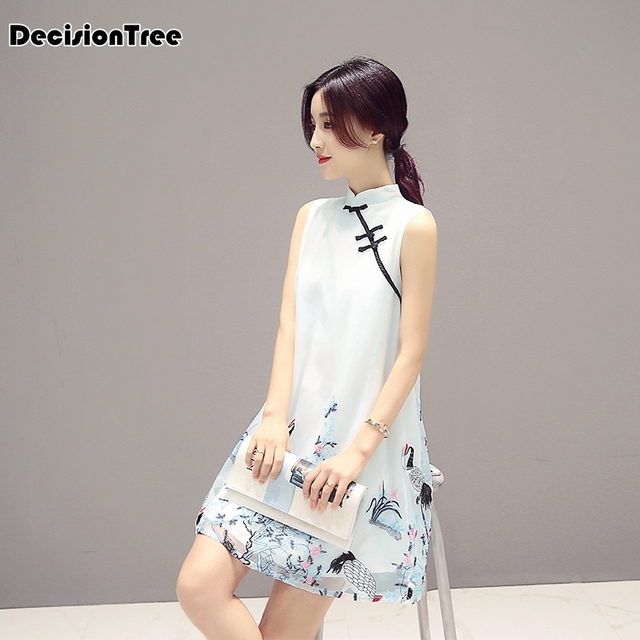 2019 summer retro chinese traditional qipao women lace chiffon cheongsam female sleeveless crane print improved cheongsam dress