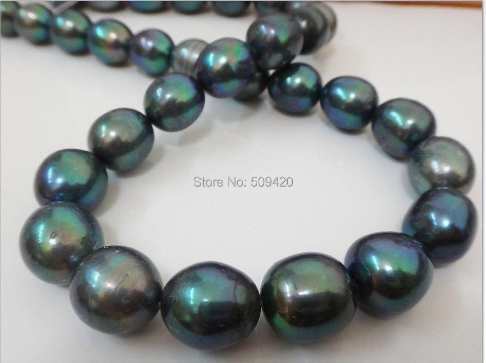 """ОГРОМНЫЙ 1"""" 10-13 мм натуральный таитянский подлинный черный изумрудно-зеленый Овальный жемчужное ожерелье"""
