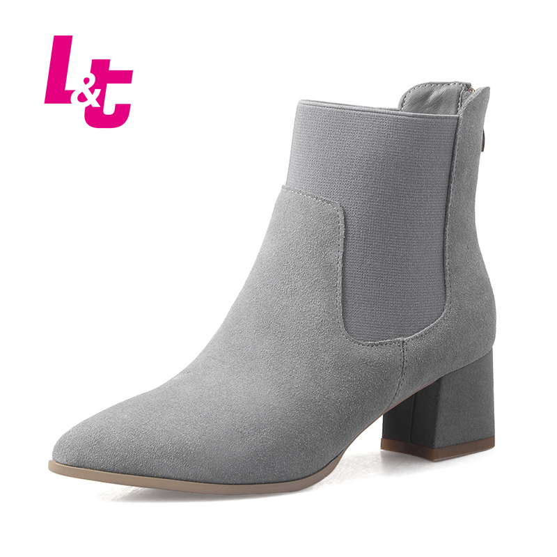 L&T Shoes women suede fashion ankle boots nubuck leather pointed toe red bottom high heels autumn/winter calzado mujer egonery quality pointed toe ankle thick high heels womens boots spring autumn suede nubuck zipper ladies shoes plus size