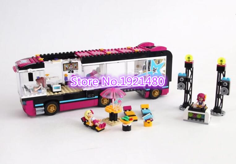 ФОТО AIBOULLY 10407 Friends Pop Star Tour Bus Building Blocks Sets Bricks Toys Girl Game House Gift Compatible with 41106