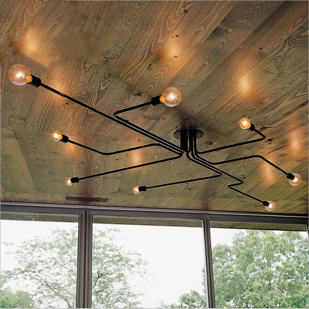 Nordic pipe Wrought Iron Ceiling Lights 4,6,8 heads ceiling light Retro industrial loft living room lustre lamp iron lamp retro matte black iron ceiling light american industrial iron lights