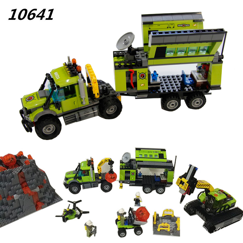 10641 City Series Volcano Exploration Base Geological Prospecting Building Block DIY Bricks Toys Gift For Children 60124 sermoido 02012 774pcs city series deep sea exploration vessel children educational building blocks bricks toys model gift 60095