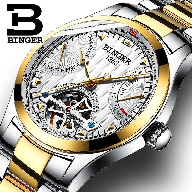 все цены на Genuine Luxury BINGER Brand men automatic mechanical self-wind sapphire watches calendar waterproof full Adamant steel hollow
