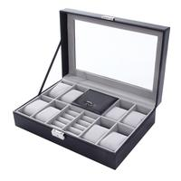8 + 3 Grids Faux Leather Watch Box Storage Case Rings Bracelet Jewelry Display fashion