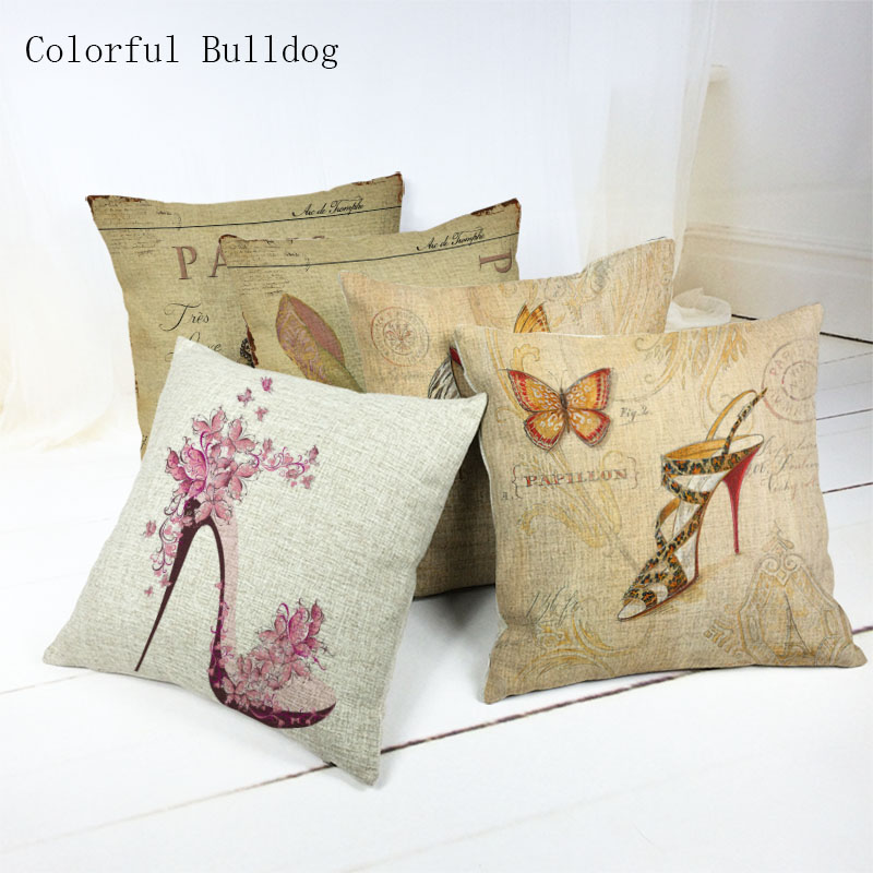 Wholesale Vintage Butterfly Flower High heel Cushion Cover Cotton Linen 43*43Cm Square Home Car Decoration Throw Pillow cases