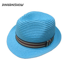 [DINGDNSHOW] 2019 Fashion Sun Hat Kid Summer Cap for Boy and Girl Jazz Cap Baby Straw Hat Panama Beach Cap(China)